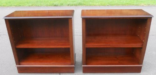 Pair Mahogany Open Bookcases